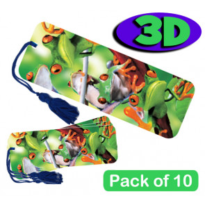 3D Bookmarks | Fun Tree Frogs Design - For Party Bags & Student Gifts