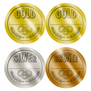 Award Stickers | Large Gold, Silver, Bronze Medal Badge Stickers