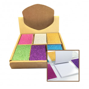 Stationery Gift | Small Colourful Glitter Memo Notepads. Bulk Stationery