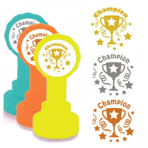 Self-inking Teacher stamper | Star Champion Marking Stamp in Gold Ink