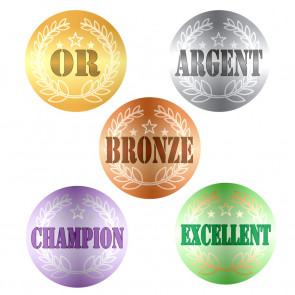 Autocollants | OR, ARGENT, BRONZE, CHAMPION, EXCELLENT