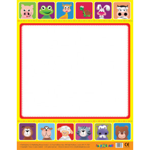 Posters | Cute Animals Border Wipe Off Poster for Notices / Messages
