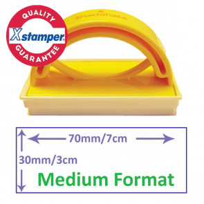Custom Stamp   Rectangle Format Self-inking Stamp for Schools or Office - Side  View