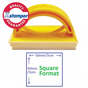 Custom Stamp   Sqaure Format Self-inking Stamp for Schools or Office - Side  View