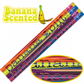 Smelly Pencils | Pack of 12 Sweet Banana Split Fruit Smelling Pencils. 4 Different Designs Per Pack