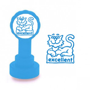 Self-inking Stamp | Excellent Cool Cat Design Teacher Marking Stamp - No ink pad required.