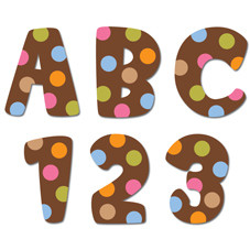 Stick-On Uppercase Letters | 2cm Dots on Chocolate School Stickers
