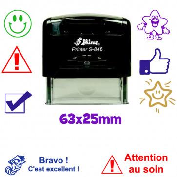 Tampon Encreur Personnalisé   Grand Tampon Enseignant 63x25mm