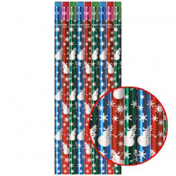 Kids Pencils   Festive snowman design, super shiny foil pencils