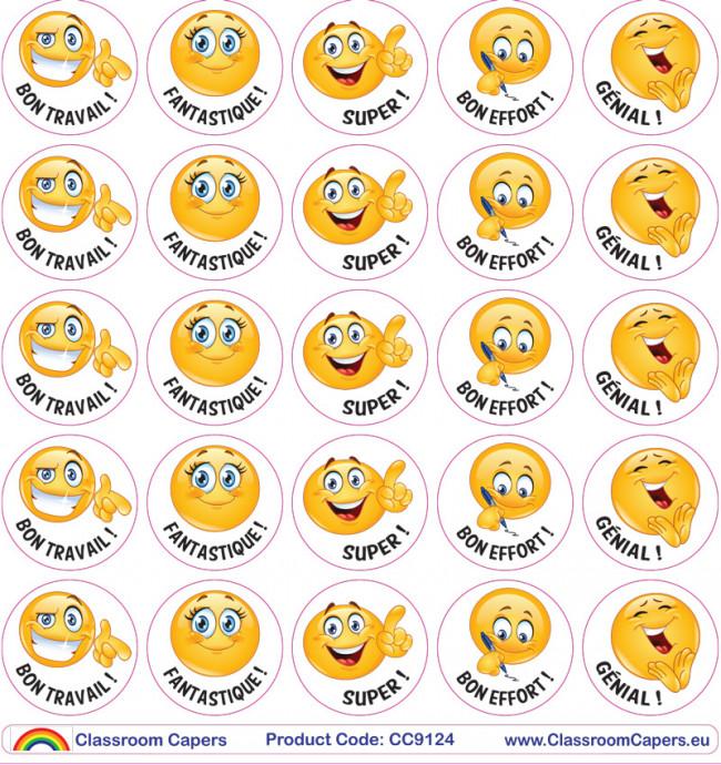 Autocollants bon travail emoji stickers en fran ais for Autocollant mural francais
