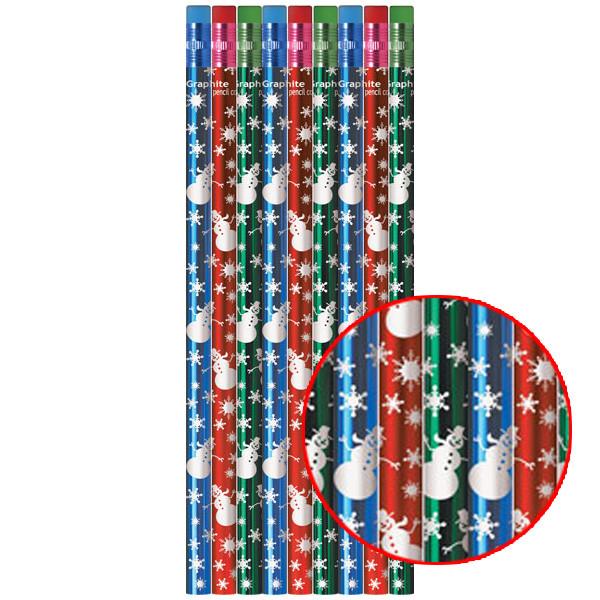 Crayons Crayons De Papier De Noël Brillants Bonhomme De Neige
