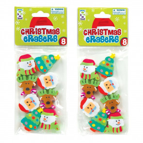 School Class Gifts | Christmas Erasers - Packets of 8