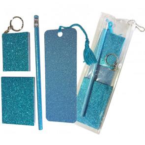 Sparkle Stationery | Blue Glitter Stationery Gift Set - Sparkle Bookmark, Sparkle HB Pencil, Sparkle Notepad keyring and Sparkle Memo