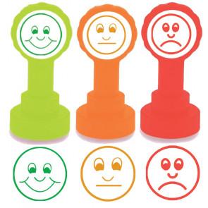 Tampon Auto Encreur Ecole | Kit 3 tampons – 3 visages (Heureux, Triste, Indifférent), couleurs feux de circulation