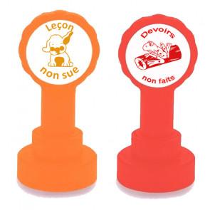 Tampons scolaires | Leçon non sue & Devoirs non faits -  2 Tampon Ensemble - Auto-encreur pour Enseignant - Orange et Rouge