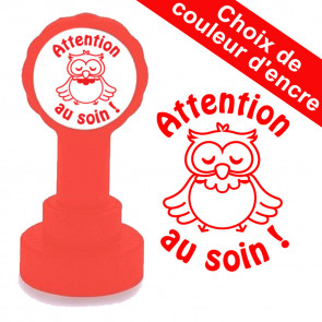 Tampon auto-encreur | Attention au soin, Hibou Mignon