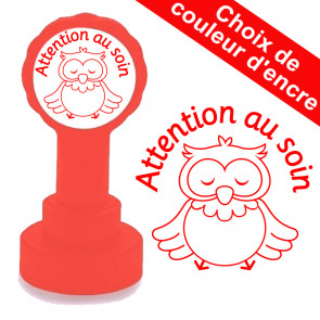 Tampon auto-encreur | Attention au soin, Hibou Mignon