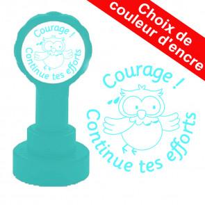 Tampon auto-encreur | Courage ! Continue tes efforts - Hibou mignon