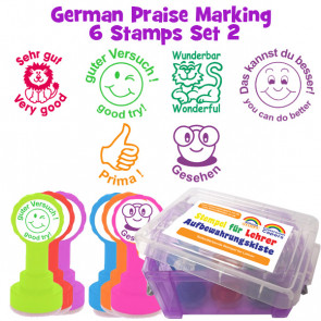 School Stamps | 6 German Bilingual Teacher Praise Stampers
