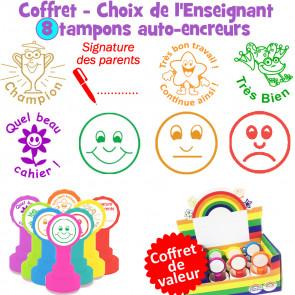 Tampons Enseignants | Coffret de Tampons Enseignants Essentiels - 8 Tampons Auto-encreurs