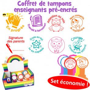 Tampons Enseignants | Coffret de 8 Tampons Pré-encrés