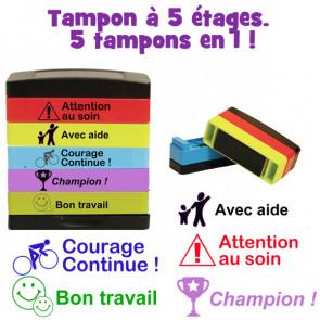 Tampons écoles | Français Marquage Tampon à 5 étages.  5 tampons en 1: Courage Continue, Avec aide, Champion !, Bon Travail, Attention au soin