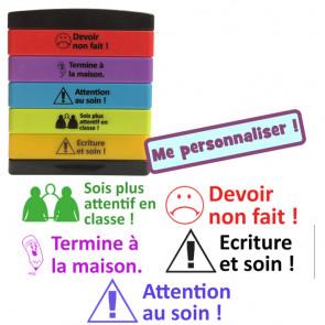 Tampons Encreur Ecole | 5-en-1 Multi-Tampons Encreur - Attention au soin, Ecriture en soin, Devoir non fait, Sois plus attentif en classe, Termine à la maison