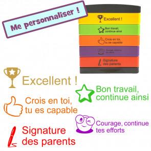 Tampon 5 Étages :  Excellent !, Bon travail, continue ainsi, Crois en toi, tu es capable, Courage, continue tes efforts, Signature des parents