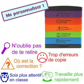Tampons Auto Encreurs Enseignants | 5 messages d'éloge en français : N'oublie pas de te relire, Trop d'erreurs de copie, Où est la correction ?, Travaille plus rapidement, Sois plus attentif en classe.