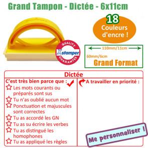 Tampon auto-encreur | Tampon Réactions et Évaluation Dictée - Grand Format 11x6cm