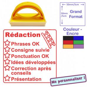 Tampon auto-encreur appréciations pour enseignant | Rédaction (Rouge)