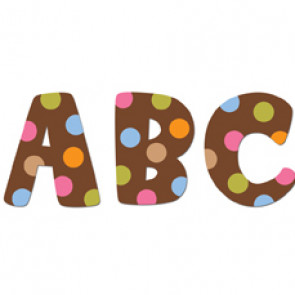 Stick-On Lowercase Letters | 74 Large Dots on Chocolate Letter Stickers