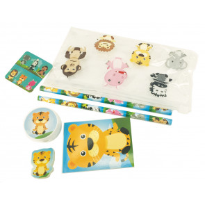 Pochette Surprise | Trousse et Ensemble de Papeterie Amis Jungle