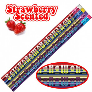 Smelly Pencils | Pack of 12 Sweet Strawberry Fruit Smelling Pencils. 4 Different Designs Per Pack