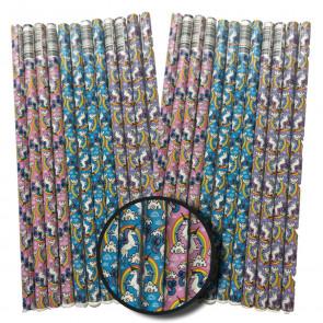 Licorne Pochette Surprise | 72 x Crayons de Papier Licorne d'arc-en-ciel.