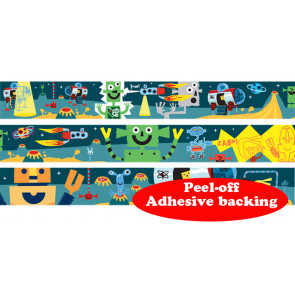 Self-Adhesive Classroom Roll Borders | Space Alien Robot Design - Order by the metre