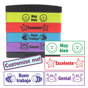 Teacher Stamps   Spanish 4-in-1 Self-Inking Stamp Stack (Stakz) / Multistamp