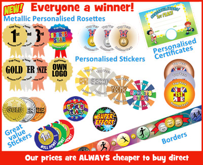 Sports Day Resources - personalised sports stickers, reward stickers, prizes, sports display borders, posters for schools